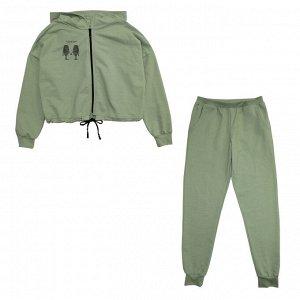 Костюм Стильный костюм. Модный принт. Материал: 95% хлопок, 5% лайкра, футер с лайкрой Размеры: 34, 36, 38, 40 Цвет - Любой;Черный;Светло-зеленый;Серо-голубой