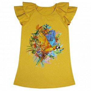 Платье Яркое летнее платье. Модный принт. Материал: 95% хлопок, 5% эластан, кулирка с лайкрой Размеры: 30, 32, 34, 36, 38 Цвет - Шафрановый