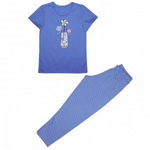 Костюм Милая пижамка. Стильный принт. Материал: 100% хлопок, кулирка Размеры: 32, 34, 36, 38, 40 Цвет - Голубой