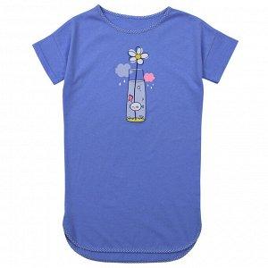 Сорочка Милая сорочка. Стильный принт. Материал: 100% хлопок, кулирка Размеры: 32 Цвет - Голубой