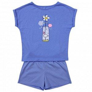 Костюм Милый костюмчик для сна. Стильный принт. Материал: 100% хлопок, кулирка Размеры: 32, 34, 36, 38, 40 Цвет - Голубой