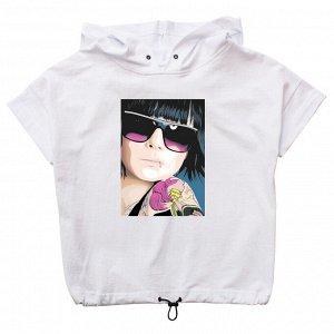 Блузка Модная блузка для девушек. Стильный принт. Капюшон. Украшена люверсами. Материал: 95% хлопок, 5% эластан, кулирка с лайкрой Размеры: 34, 36, 38, 40, 42 Цвет - Белый