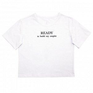 Блузка Стильная футболка для девочек. Модный принт на спинке. Широкая, укороченная модель. Материал: 95% хлопок, 5% лайкра, кулирка с лайкрой Размеры: 34, 36, 38, 40 Цвет - Белый