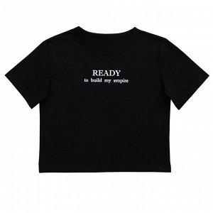 Блузка Стильная футболка для девочек. Модный принт на спинке. Широкая, укороченная модель. Материал: 100% хлопок, кулирка Размеры: 34, 36, 38, 40 Цвет - Черный