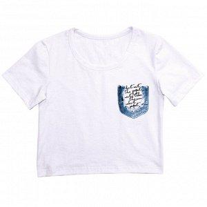 Блузка Стильная футболка для девочек. Модный принт. Широкая, укороченная модель. Материал: 95% хлопок, 5% эластан, кулирка с лайкрой Размеры: 34, 36, 38, 40 Цвет - Белый