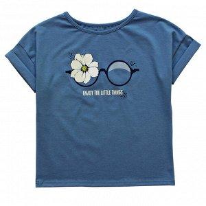 Блузка Модная блузка для девушек. Стильный принт. Цвет как на фото. Материал: 95% хлопок, 5% эластан, кулирка с лайкрой Размеры: 36, 38, 40, 42 Цвет - Серо-голубой