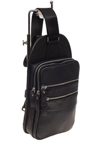 Мужской sling bag из натуральной кожи, цвет черный