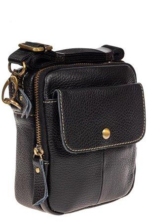 Мужская сумка из натуральной кожи под документы, цвет черный