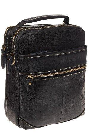 Мужская сумка из натуральной кожи с золотистой фурнитурой