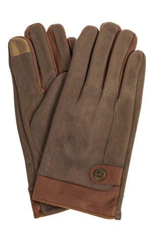 Перчатки мужские из велюра, цвет коричнево-зеленый