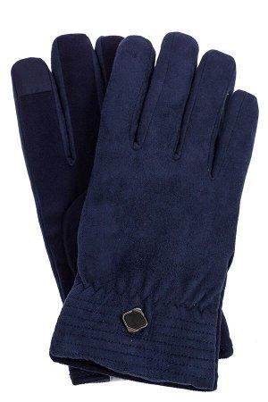 Утепленные перчатки мужские из велюра, цвет синий