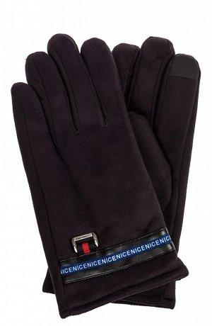 Утепленные перчатки мужские из велюра, цвет черный