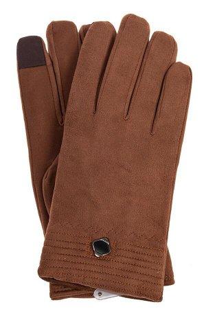Утепленные перчатки мужские из велюра, цвет коричневый