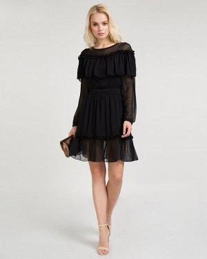 Платье черное с воланами