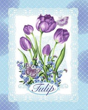 Кухонное вафельное полотенце Тюльпаны