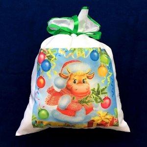 Новогодний мешок для конфет и подарков 30х40 см. Бычок