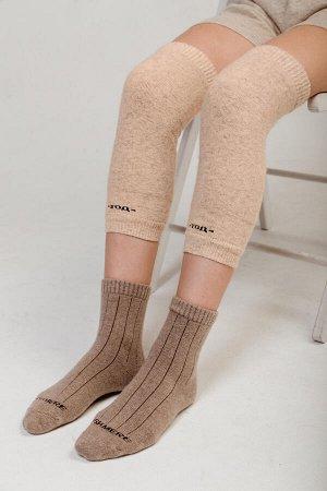 Наколенники шерстяные, большие 100% шерсть  (F, бежевый)