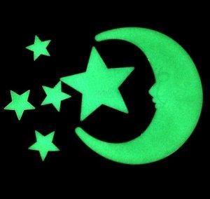 """Флуоресцентные наклейки """" звезды и 2 месяца"""""""