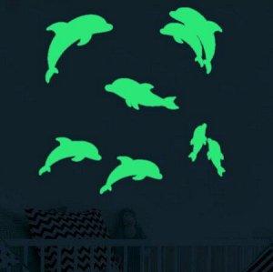 """Флуоресцентные наклейки """" Дельфины"""""""