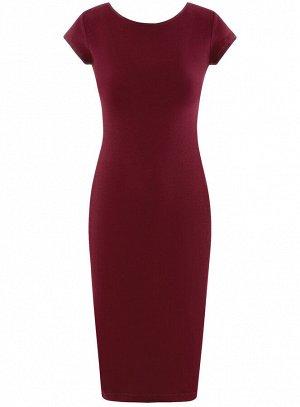 Платье миди с вырезом на спине Красный
