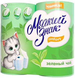 "Туалетная бумага ""Мягкий знак ""Deluxe Aroma"" 4шт зеленый чай двухслойная 130 листов/24/ С48/С18"