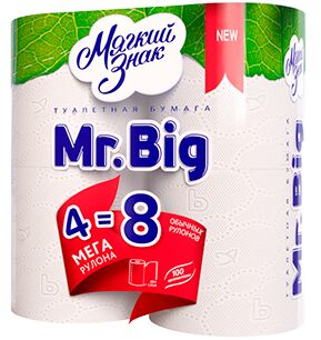 """Туалетная бумага """"Мягкий знак """" Mr. Big""""  MAXI 4шт=8шт двухслойная"""" (белая) 320 листов/9/ С118"""