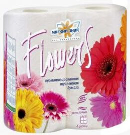 "Туалетная бумага ""Мягкий знак ""Flowers"" 4 шт белая двухслойная 175 листов /24/ С48"