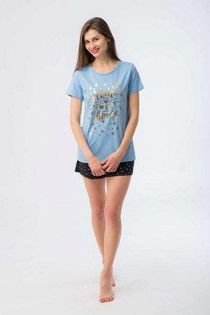 """комплект """"81496 Комплект жен WK 206 800, Состав: футболка 100% хлопок шорты 95%хлопок 5%лайкра"""""""