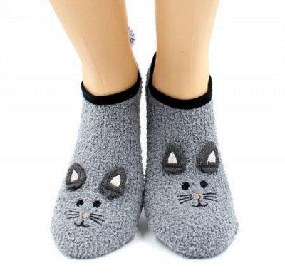 Теплые носочки Hobby Line! Новогодние! Ангора, махра  — Носки женские укороченные махровые — Носки