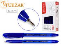 Ручка с чернилами на на масляной основе, цв.чернил - синий 0,7мм, цв.корпуса синий, в стакане. Производство Россия.