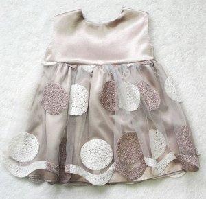 Платье Платье нарядное: подклад 100 % хлопок, второй слой креп-сатин, украшено вышитой сеткой. По спинке застегивается кнопками, сзади большой оригинальный бант.