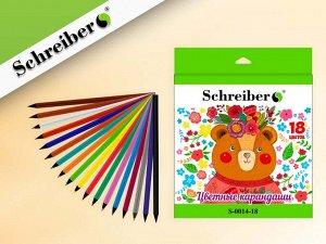 Набор цветных пластиковых карандашей МИШКА, 18 цветов, картонная коробка