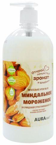 New АУРА CLEAN Жидкое крем-мыло питательное Миндальное мороженое (дозатор) 1л.