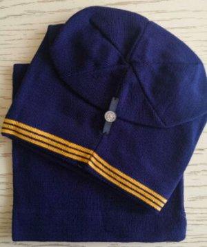 Набор шапка + снуд, цвет тёмно-синий с оранжевой полосой