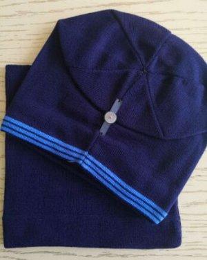 Набор шапка + снуд, цвет тёмно-синий с голубой полосой