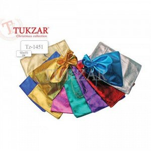 Подарочный мешок: (9,5x15,0 см), текстильный, яркий цветной металлик (расцветки в ассортименте)