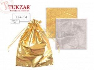 Мешок подарочный текстильный МЕТАЛЛИК, золото/серебро, 28х38см NEW