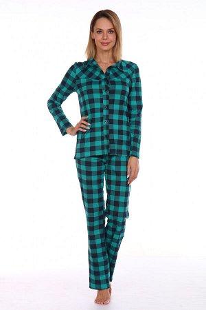 Пижама 742 шотландка пуговицы зеленый