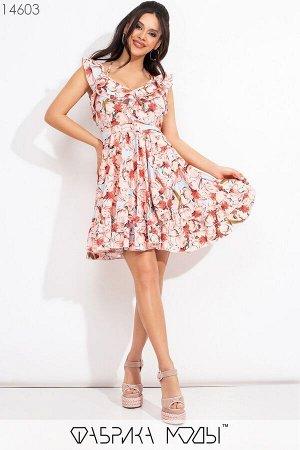 """Платье """"беби-долл"""" на бретелях с декольте и воланами по подолу 14603 Фабрика Моды"""