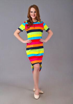 Платье Александра (широкая цветная полоса)