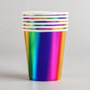 Стакан бумажный, набор 6 шт., цвет радуга