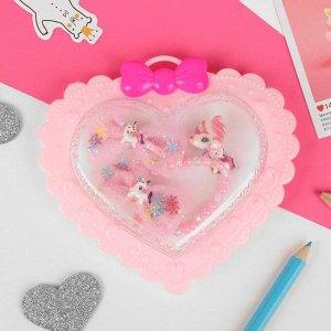 """Комплект детский 4 предмета: 2 заколки, клипсы, браслет """"Единороги"""", цветной"""