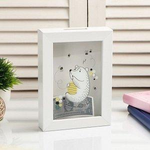 "Копилка интерьерная пластик ""Мишка и пчёлы"" 17х12х3,8 см"