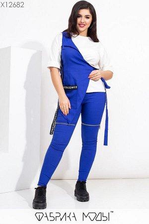 """Комплект тройка: жилет на """"одно плечо"""", футболка и джинсовые леггинсы высокой посадки X12682 Фабрика Моды"""