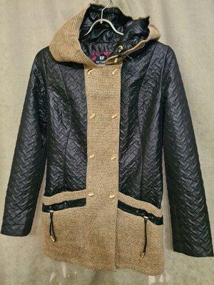 Куртка Куртка Пекин. Осень, на синтепоне. Цвет черный, удлиненная, молодежная. Отделка бежевая шерсть. Размер L (на русский 44-46).