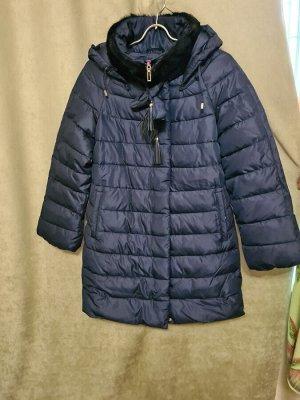 Куртка Куртка Пекин. Зима, наполнитель холлофайбер. Со съемным капюшоном.Цвет синий, удлиненная.  Размер М (на русский 46-48).