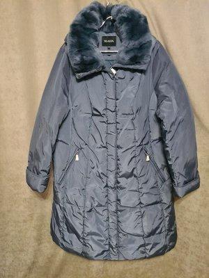 Пальто Пальто Пекин. Зима, наполнитель пух-перо. С капюшоном, воротник стриженный кролик. Цвет темно голубой.
