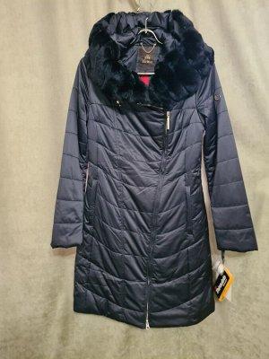 Пальто Пальто Пекин. Зима, наполнитель тинсулейт. С капюшоном, отделка стриженный кролик. Цвет темно синий.