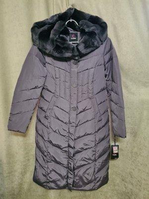 Пальто Пальто Пекин. Зима, наполнитель пух-перо. С капюшоном, отделка стриженный кролик, меховой полностью. Цвет темно серый.