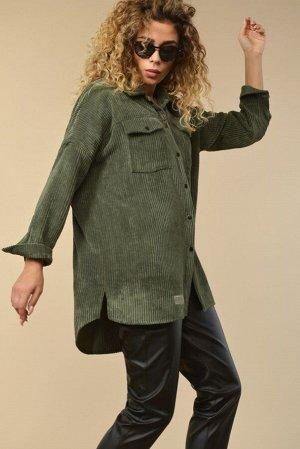 Рубашка Рубашка Сч@стье 7114 зеленый  Состав ткани: Вискоза-26%; ПЭ-74%;  Рост: 170 см.  Блузка женская свободного силуэта. Центральная застежка на кнопки. Воротник рубашечный на стойке. По спинке и
